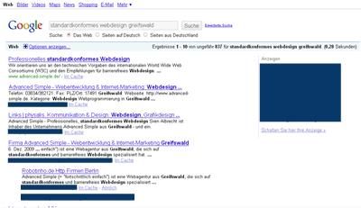 Die Website von Advanced Simple in den Suchergebnissen von Google