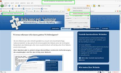 Zeigt an welchen Stellen im Browser das title-Tag angezeigt wird