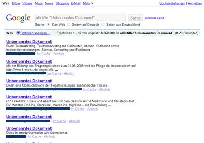 Fast 4 Milionen Websites mit dem nichtssagenden Titel UNBENANNT findet Google