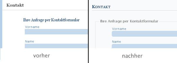 Vorher-Nachher-Bild des Kontaktformulars